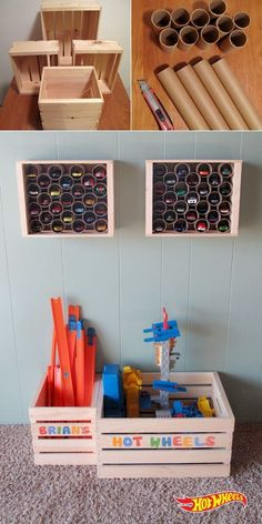 This is brilliant! A mini high-rise garage! Each car gets its own port in this easy storage solution for your kid's Hot Wheels cars. Get assorted wooden boxes or crates from your local crafts store. Collect cardboard rolls (e. Diy Wooden Crate, Wooden Crates, Wooden Boxes, Hot Wheels Storage, Toy Storage, Craft Storage, Storage Ideas, Garage Storage, Toy Rooms