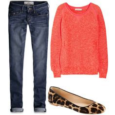Dont know what to wear? Simple... Nothing works better than a oveersized shirt/sweater with skinny jeans, coloful flats and a scarf or a chunky but simpel neckclase