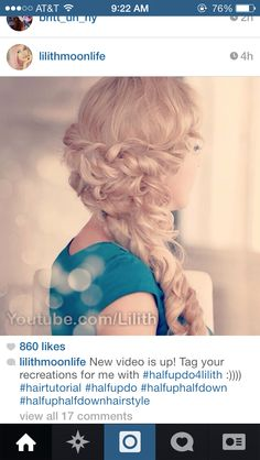 Romantic half updo from Lilith moon on YouTube