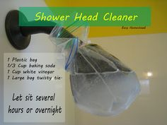 Let sit several hours or overnight 1 Plastic bag Cup baking soda 1 Cup white vinegar 1 Large bag twisty tie. Let sit several hours or overnight Diy Home Cleaning, Household Cleaning Tips, Cleaning Recipes, Bathroom Cleaning, House Cleaning Tips, Deep Cleaning, Cleaning Hacks, Shower Head Cleaning, Spring Cleaning