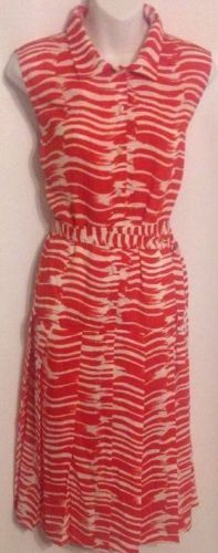 CAbi Size Medium Brushstroke Dress Orange White Zebra Stripe Polyester NWT $118 #CAbi #SundressPleated #WeartoWork