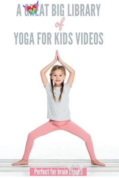 Yoga for Kids Brain Breaks Videos  <br> A great big collection of yoga for kids videos for kids of all ages. Great for use at home or in the classroom. Yin Yoga, Yoga Positionen, Vinyasa Yoga, Yoga For Kids, Exercise For Kids, Brain Gym For Kids, Kids Yoga Poses, Yoga Routine, Yoga Inspiration