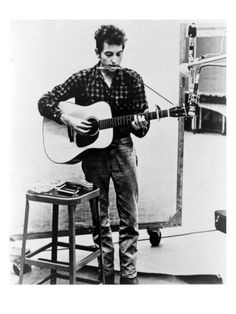 Bob Dylan Playing Guitar and Harmonica into Microphone. 1965 Print - AllPosters.ca