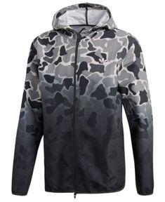 adidas Men's Originals Ombre Camo-Print Windbreaker - Green S Camo Jacket, Hoodie Jacket, Adidas Camouflage, White Camo, Black White, Mens Windbreaker, Adidas Originals Mens, Camo Print, Adidas Men