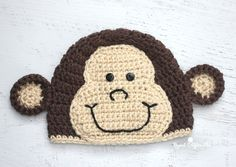 DIY Crochet Monkey Hat pattern from Repeat Crafter Me