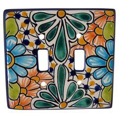 Decorative Talavera Double Switch Plate Cover