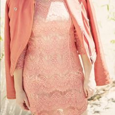 Salmon Lace Dress Never been worn! 30% goes to best friends animal society! Stylestalker Dresses Mini