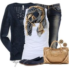 I love this outfit sweater cardigan, capris, top and scarf.