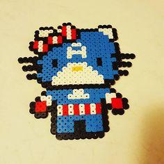 Captain America Hello Kitty hama beads by aidy_baidy