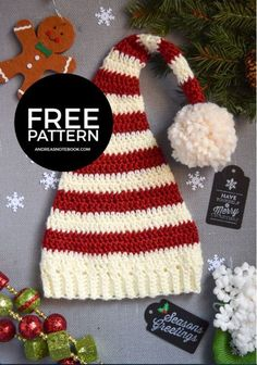 Crochet Baby Hats Free Crochet Patterns - Christmas-Themed Hats for Adults and Kids - Christmas Hats for Newborn to Adult - Free Crochet Patterns - striped stocking caps, Santa Hats, Rudolph the Red-Nosed Reindeer, Bumble, and more. Easy Crochet Hat, Crochet Simple, Bonnet Crochet, Crochet Motifs, Crochet Beanie, Crochet Gifts, Crochet For Kids, Crochet Santa Hat, Crocheted Hats