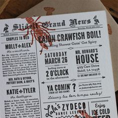 A triple-wedding-shower invitation, obviously a crawfish boil, and designed to look like the newspapers that crawfish are dumped onto - very cute!