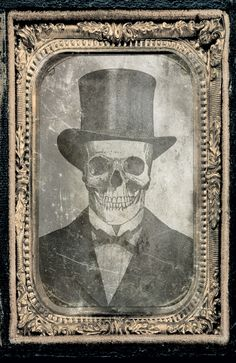 Dapper skeleton in tophat