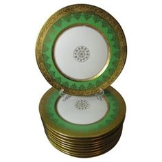 Check out this item at One Kings Lane! Gold & Green Service Plates, S/10