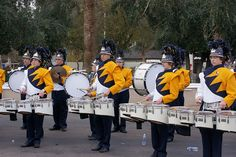 Butler Golden Tornado Marching Band warming up before the 2010 Fort McDowell Fiesta Bowl Parade in Phoenix, Arizona.