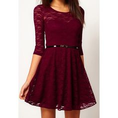 Glamour Scoop Collar Solid Color Hollow Out Half Sleeve Pleated Lace Dress For Women