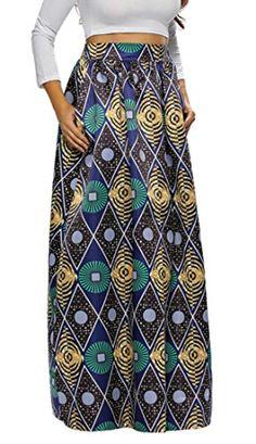 0e99ba9270 GenericWomen Generic Women African Maxi Long High Waist Dashiki Floral  Panel Pocket Skirt Green XS *** ** AMAZON BEST BUY ** #SummerOutfit