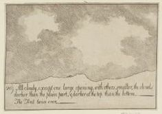 Alexander Cozens (1717‑1786) / 26. All Cloudy, except One Large Opening, with Others Smaller, the Clouds Darker than the Plain Part, and Darker at the Top than the Bottom. The Tint Twice Over (From A New Method for Assisting the Invention in the Composition of Landscape) / Date not known / Etching on paper / Image: 110 x 157 mm / Tate UK Collection / Purchased as part of the Oppé Collection