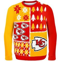 Kansas City Chiefs Red Busy Block Ugly Sweater