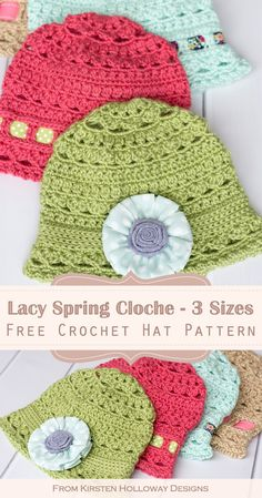 Eden Cloche Free Crochet Hat Pattern for Spring - Kirsten Holloway Designs - - The Eden cloche uses a light and airy stitch pattern that makes this a great spring hat! Because of its lacy design, it can be modified up or down in size. Easy Crochet Hat, Bag Crochet, Crochet Baby Hats, Free Crochet, Crochet Flower Hat, Beanie Pattern Free, Crochet Beanie Pattern, Crochet Patterns, Hat Patterns