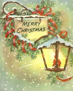 Vintage Christmas card, glowing lantern (¯` & # .ೋ - Christmas Cards Old Time Christmas, Christmas Card Images, Vintage Christmas Images, Christmas Lanterns, Christmas Graphics, Christmas Scenes, Noel Christmas, Victorian Christmas, Retro Christmas