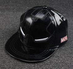 2016 Retail children Baseball Caps kid Hip hop cap Iron Man full leather  street dance Boys. Black snapbackPeaked ... f834b24485f2