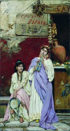 Two Romans with a Tambourine and a Flute by Pavel Svedomsky 1880s