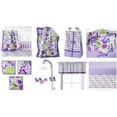 Bacati Botanical 10-Piece Nursery-in-a-Bag Crib Bedding Set, Purple