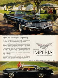 Styled for an era just beginning. The Exclusive Imperial. America's Most Carefully Built Car. Imperial Custom Four-Door Southampton 1960.