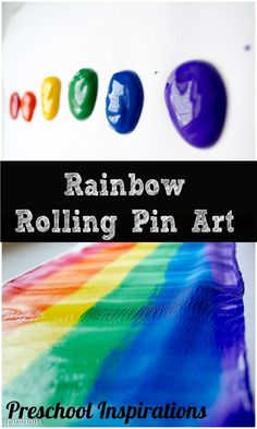 A simple art project for preschoolers to make their own gorgeous rainbow. Rainbow Rolling Pin Art by Preschool Inspirations