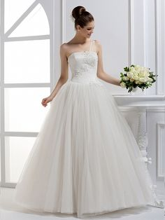 Tulle Ball Gown One Shoulder Natural Waist Floor Length With Beading Wedding Dress