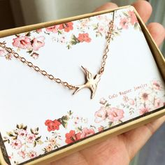 Bird Necklace  Swallow Necklace  Rose Gold Vermeil by cocowagner