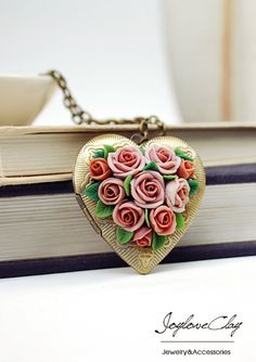 locket pendant necklace ,handmade flowers necklace , antique jewelry , bronze, polymer clay flower, handmade jewelry, pendant