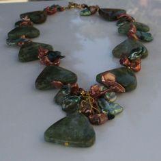 Golnar Jewelry - Statement necklace Green Opal with bronze pearls TIMONE, $199.00 (http://www.golnarjewelry.com/statement-necklace-green-opal-with-bronze-pearls-timone/)