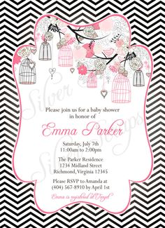 Birdcages, Birds, Chevron - Custom Bridal, Baby Shower, or Bridesmaids Luncheon Invitation - Girl Boy Black White Hot Light Pink Blue Lilac -5 Designs...