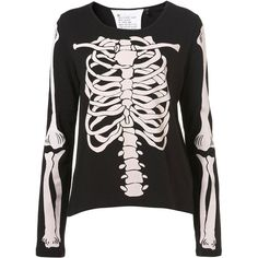 Skeleton Tee By Tee And Cake ($33) ❤ liked on Polyvore featuring tops, t-shirts, sweaters, shirts, t shirts, topshop, shirts & tops, skeleton t shirt and topshop tops