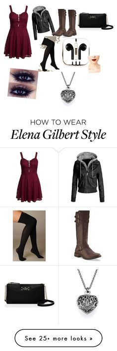 """Old Elena Gilbert Inspired"" by brebre2003 on Polyvore featuring moda, New Look, UGG Australia, Hue, Kate Spade, PhunkeeTree e Jeffree Star"