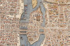 Detail of Île de la Cité, Le Marais, and Quartier Latin from a map of Paris, 1550