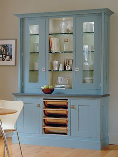 Hand Painted Classical Hutch with Metal Baskets | Revuu