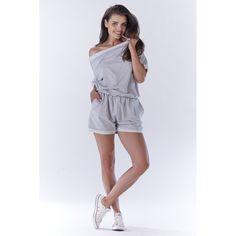 Salopeta dama casual-sport cu pantaloni scurti gri Rompers, Sewing, Casual, Dresses, Fashion, Embroidery, Vestidos, Moda, Couture
