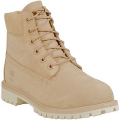 "Timberland 6"" Kids Premium Women's Lace Up Boot (175 CAD) ❤ liked on Polyvore featuring shoes, boots, beige, beige shoes, front lace up boots, water proof boots, anti fatigue boots and water proof shoes"