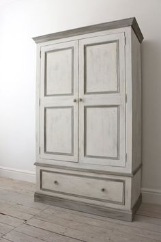 Double Pine Wardrobe painted in a shabby chic style with Annie Sloane Old White, Paris Grey and French Linen paints