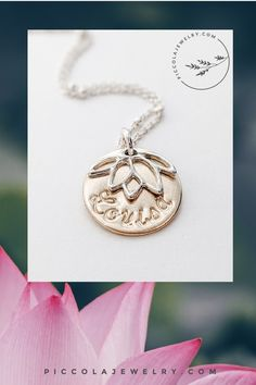 Our personalised sterling silver and 14k gold fill Lotus Flower pendant necklace is pretty and feminine, perfect to capture a new baby's name for Mom. The unique Satellite bead chain sparkles beautifully in the light - be prepared for compliments. Makes a unique gift for Mother's Day, a push present for a new Mom or *just because*. New Baby Names, Family Necklace, Flower Pendant, Lotus Flower, Mother Day Gifts, Personalized Jewelry, Sterling Silver Chains, Hand Stamped, Sparkles