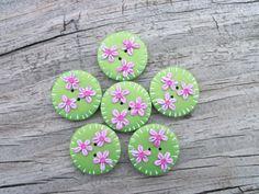 Polymer Clay Handmade Buttons pearl green by FlowertownOriginals, $5.99