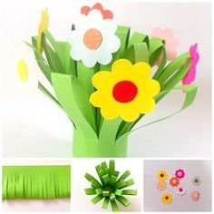 Easy paper flower bouquet kids can make for Mom to give on Mother's Day. This flower bouquet craft is fun and simple. Materials craft paper glue scissors It's a lovely gift for Mom any day of the week. Mom will love receiving this beautiful and la Flower Crafts Kids, Paper Flowers For Kids, Mothers Day Crafts For Kids, Fathers Day Crafts, Fun Crafts For Kids, Preschool Crafts, Art For Kids, Flower Paper, Family Crafts