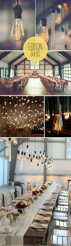 Edison bulbs. Still obsessed. Yes and yes for the random tables like food, drink and gift tables.