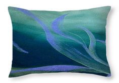 Abstract Throw Pillow featuring the painting Emerald Flow by Faye Anastasopoulou Bedroom Sitting Room, Dark Blue Green, Picture Gifts, Ocean Scenes, Fancy Houses, Pattern Pictures, Cool Themes, Pillow Reviews, Pillow Sale