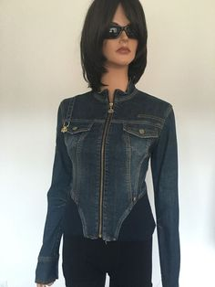 Dereon JeansDenim Jacket M Corset Women Diamond Buckle Hip Chic #Dereon #JeanJacket