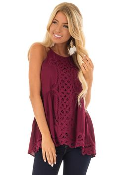 068df29933a0c Lime Lush Boutique - Dark Wine Tank Top with Crochet Front and Scalloped  Hem