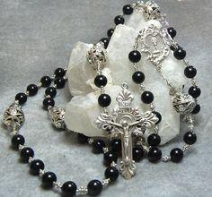 Groom's Rosary Black Onyx Sterling Silver by HeartFeltRosaries