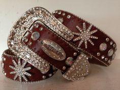 Womens ATLAS Western Medium Rhinestone Belt Spur Brown Rodeo Cowgirl Crystal New #Atlas